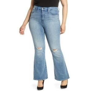 Good American Good Flare Ripped Jeans distressed